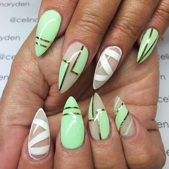 Abstract-and-baby-colored-glitter-nail-art-design-2 Cool Abstract Nail Art Ideas