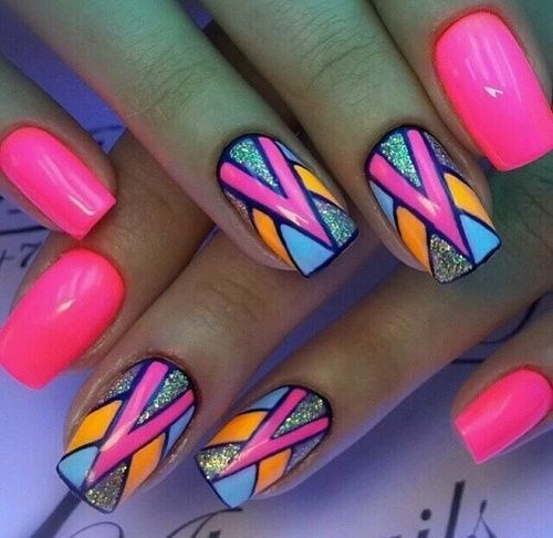 Abstract-and-baby-colored-glitter-nail-art-design-3 Cool Abstract Nail Art Ideas