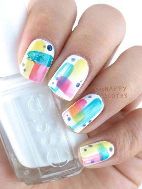 Abstract-art-with-gold-foil-accents Cool Abstract Nail Art Ideas
