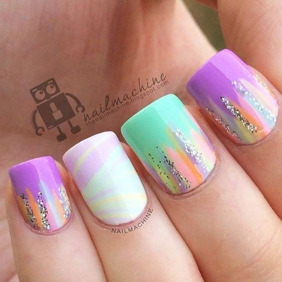 Candy-colored-abstract-nail-art-design-2 Cool Abstract Nail Art Ideas