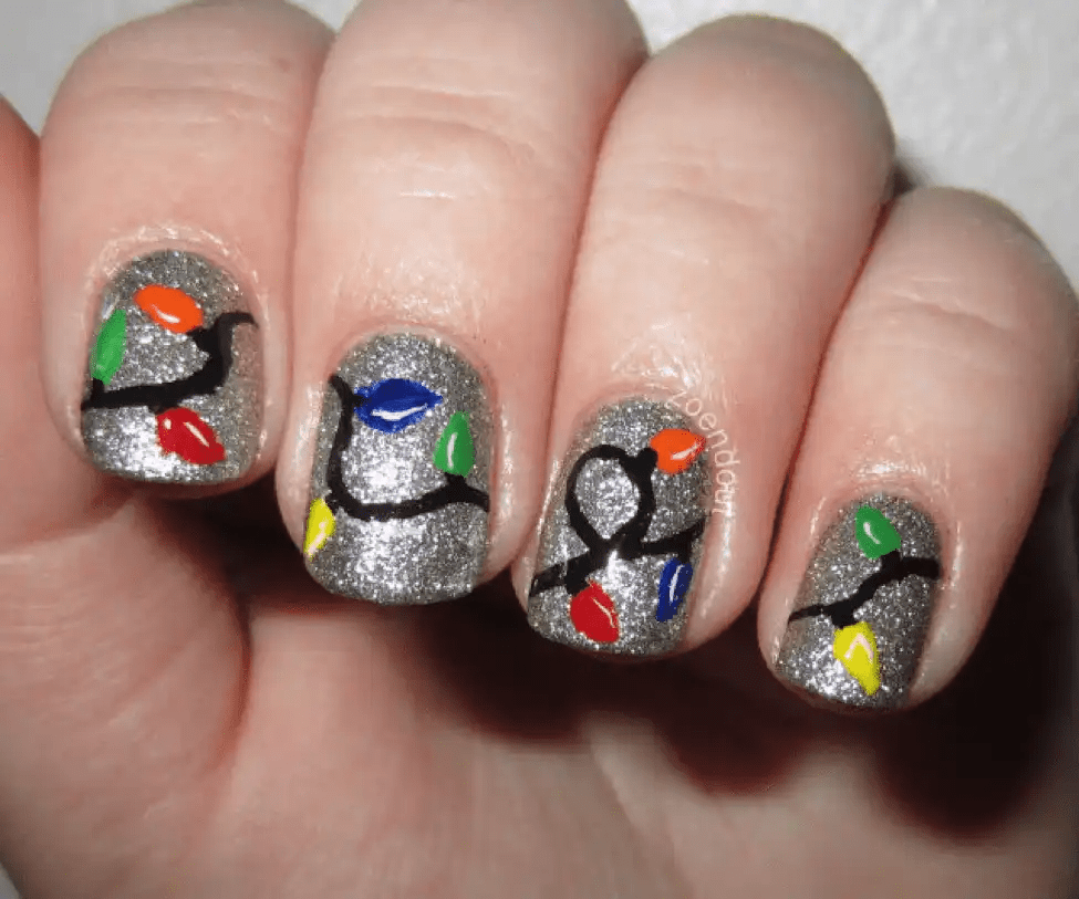 Christmas-Lights-Nail-Art 10 Acrylic Nail Designs For You To Impress Everyone