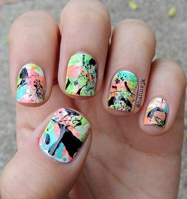 Pretty-paint-splattered-paint-splatter-design Cool Abstract Nail Art Ideas